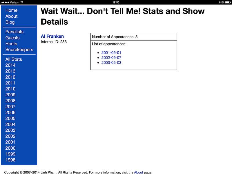 Stats Page Version 3.0: Guest Details