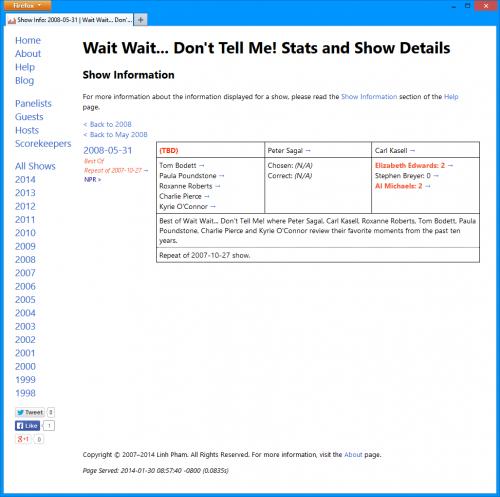 Wait Wait Stats Page Version 3.0: Individual Show Details