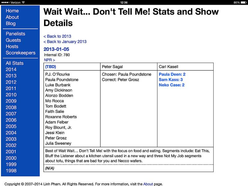 Stats Page Version 3.0: Show Details