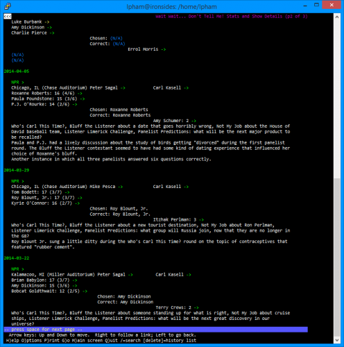 Current WWDTM Stats Page Viewed in Lynx