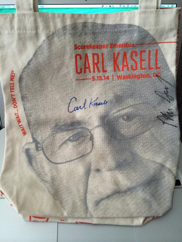 Carl Kasell Tote Bag Signed By Carl and Peter