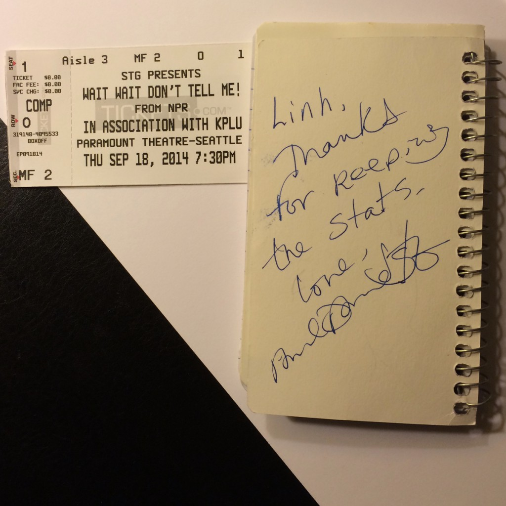 Paula Poundstone autographed by Wait Wait notebook