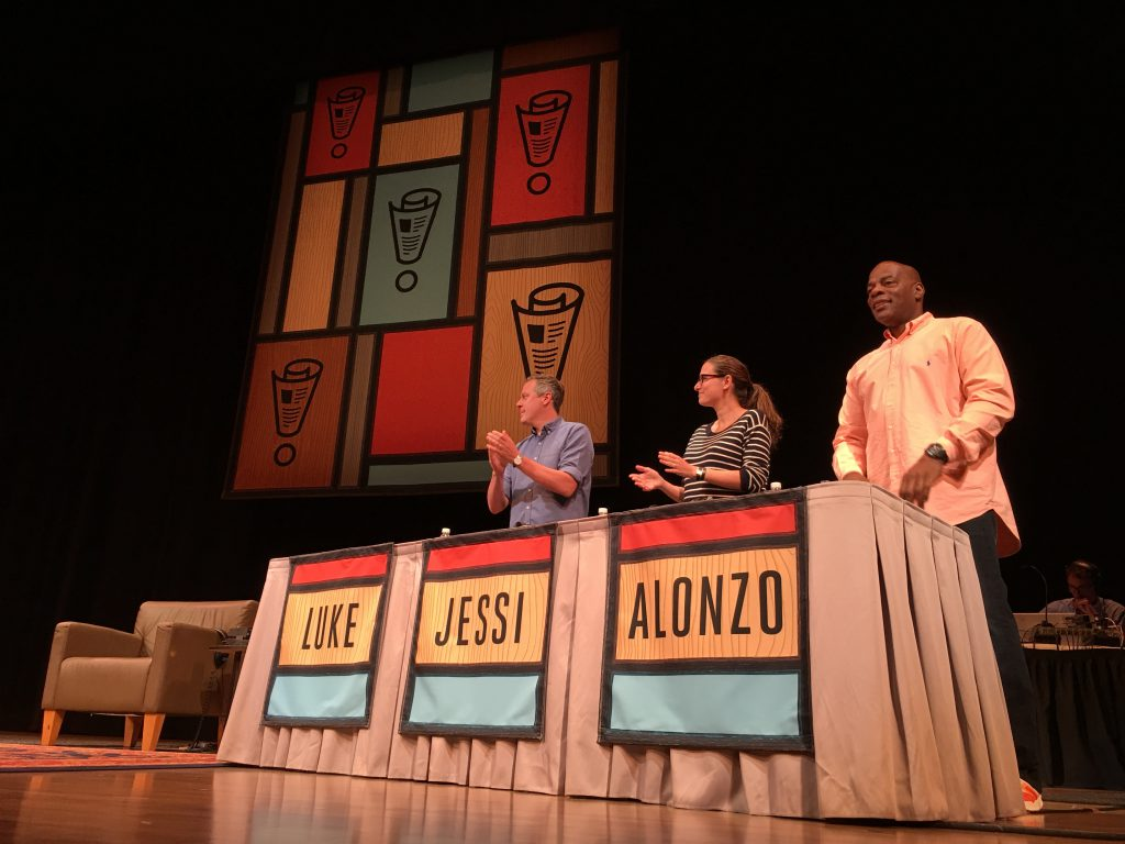 On the panel: Luke Burbank, Jessi Klein and Alonzo Bodden